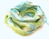 Felted scarf shawl nuno felting - merino wool an linen scarf - pastel mint green and sea blue - spring fashion - scarf - AgnesFelt
