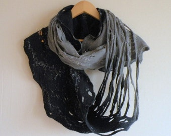 Infinity scarf - felted wool navy blue grey Circle scarf - necklace