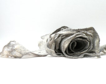 Women scarf - Wool and silk scarf -  grey cobweb wet felted scarf - weddings accsessorie - made to order