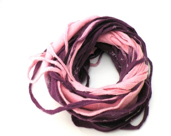 Women infinity scarf - Cobweb felted wool Circle scarf - necklace / pink purple blush violet - ready to ship