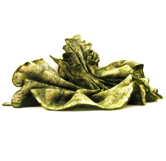 Women felted green scarf - wool silk scarf - cobweb felt green - ready to ship