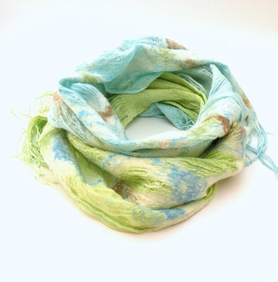 Felted scarf shawl nuno felting - merino wool an linen scarf - pastel mint green and sea blue - spring fashion - scarf