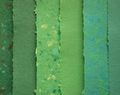 Assortment of green handmade recycled papers, 6 letter size sheets