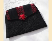 evening purse with red roses in quilted silk and brocade - 'Baroque Rose' design, available in black or red