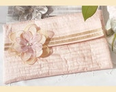wedding clutch bag in quilted silk with flower corsage -  'Evelyn' design, available in sugar pink, pistachio, almond or violet