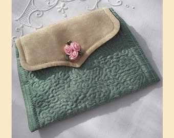wedding purse in quilted silk - 'Rosie' design, available in mint, violet, cream or sugar pink