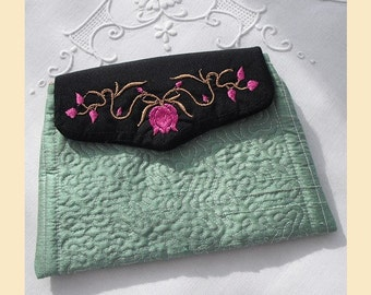 wedding purse in quilted silk with 'flowers and leaves' design, available in pistachio, sugar pink, almond or violet