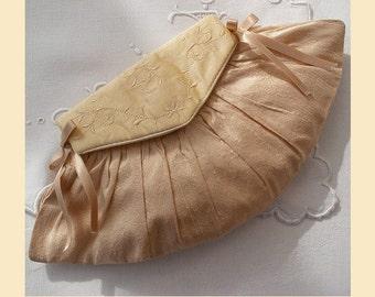 wedding purse, blush, cream, bridesmaids gift, silk purse, embroidered purse, personalisation