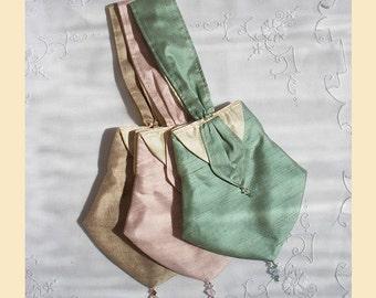 wedding purse, silk bridal purse, Swarovski crystal trim, bridesmaid purse, green, taupe, pink, violet
