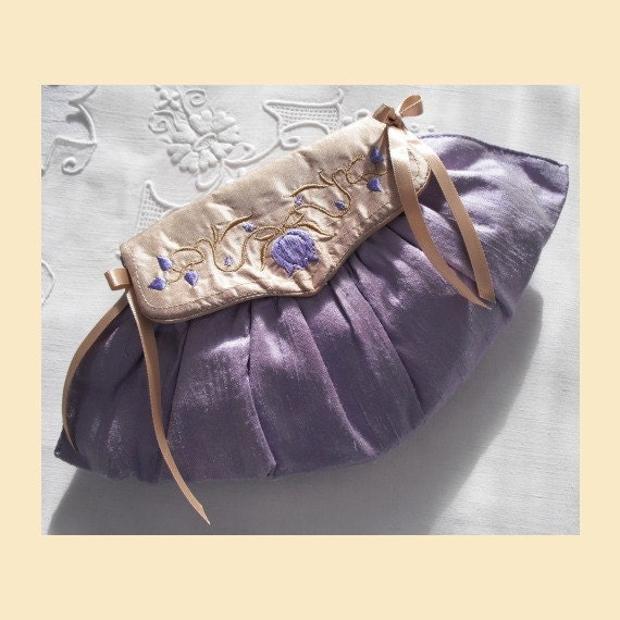 wedding purse in silk with embroidered flowers and leaves on front flap - 'Rosalind' design, available in violet, mint or rosy lilac