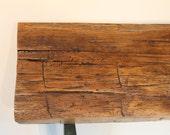 """361 Antique saw cut reclaimed hand hewn White Oak shelf, 9.25"""" deep, super unique"""