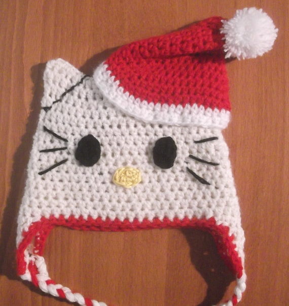 Crochet Kitty Hat Pattern : HELLO KITTY HAT Easy Crochet Pattern Christmas, All sizes, Newborn to ...