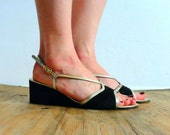 Glam 1960s wedge sandals // AMALFI BY RANGONI for Neiman Marcus // Size 9