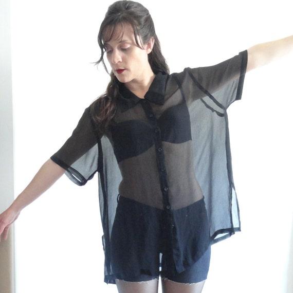Boxy Black // Sheer Button Up Dress Shirt