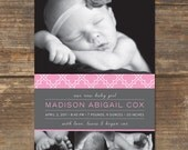 Baby Announcement Printable - Photo Card - Sweetly Pink