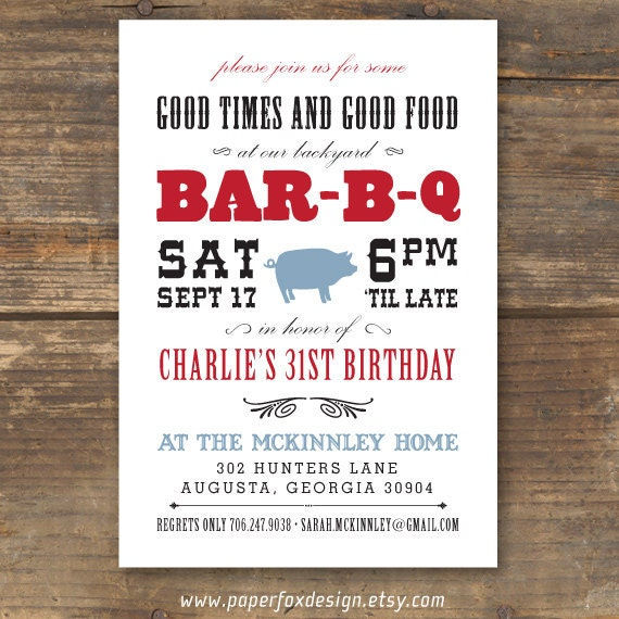 BBQ Invitation Printable - Modern Western