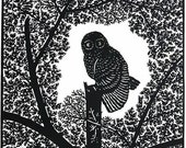 Handmade Paper Cut Silhouettes Papercutting OWL without Frame