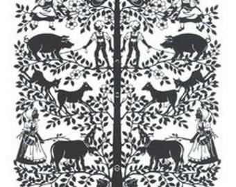 Scherenschnitte Handmade Paper Cut Silhouette Papercut  Papercutting Farm Animal