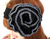 Black and gray crochet flower headband