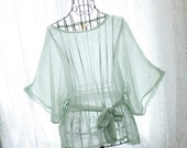 Rosort fairytale sheer chiffon fresh pale dusty green chiffon butterfly sleeves sash top blouse