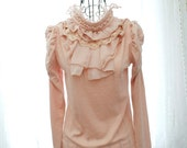 Romantic fall Victorian Collar pearl / rhinestone deco. lace chiffon ruffles princess shoulder long sleeve top