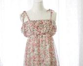SALE - Woodland Sweet Romantic Rosettes Floral Spaghetti Straps Chiffon Ruffles Blouse Tank Cami Pink