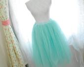 Alice in wonderland fairytale ballerina style mint green tutu tulle puff skirt /dress 2 way