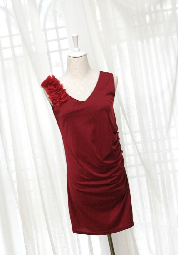 CHRISTMAS SALE - Cocktail Party chiffon ruffles petals shoulder pleated side design dress chic elegance red