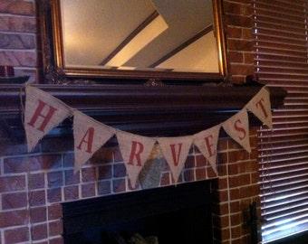 Original Harvest Burlap Banner / Bunting