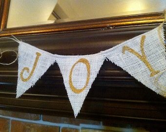 Mini Joy Burlap Banner / Bunting