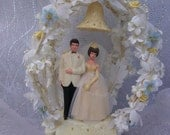 VTG Wedding Cake Topper: Yellow and Blue Flowers