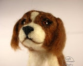 Brown white miniature needlefelted dog (Prince Charles Spaniel)
