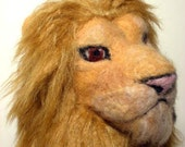 Large felted hand puppet of lion - realistic style