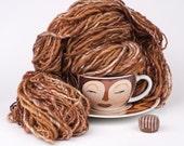Handspun Art Yarn, Brown Merino and Bamboo, Make Mine a Cappuchino
