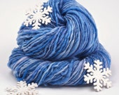 Blue Handspun Yarn for the Winter, Cozy under the Snowflakes, by Woolwench on Etsy