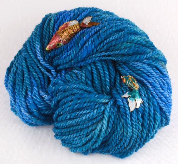 Handspun Yarn, Bulky Merino, Two Ply Blue Pacific Dreaming by Woolwench on Etsy