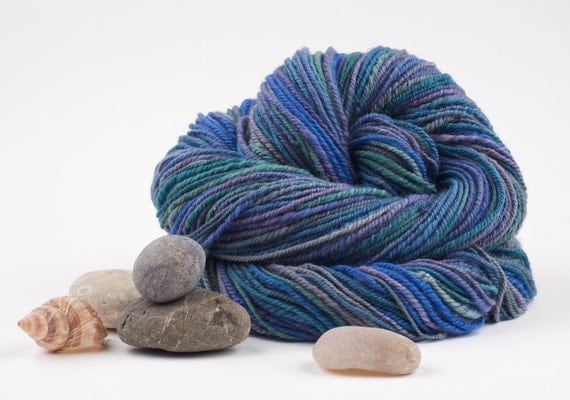 Handspun Merino Yarn, Chain Plied, South Pacific Blue by Woolwench on Etsy