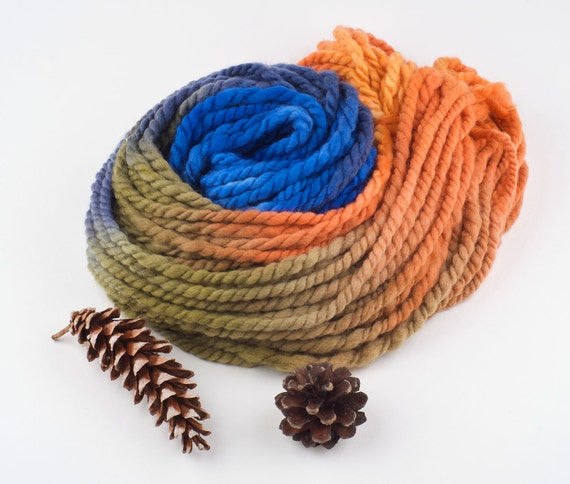 Super Bulky Yarn : Super Bulky Handspun Yarn, Hand painted Merino Chunky wool, Fall turns ...