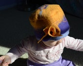 OOAK felted baby girl  yellow-purple hat with flower