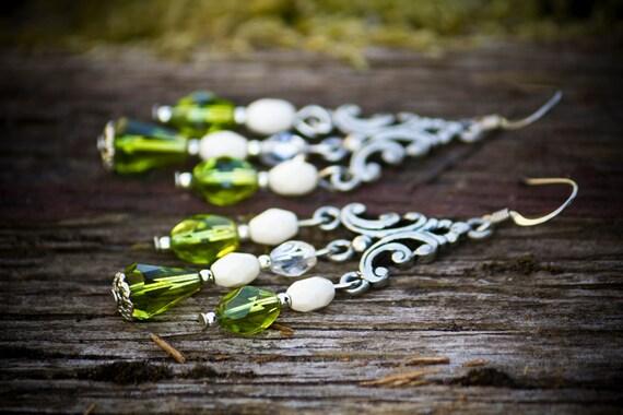 Green chandelier earrings - green Czech glass and antique silver chandelier earrings - green earrings - green jewelry - silver jewelry