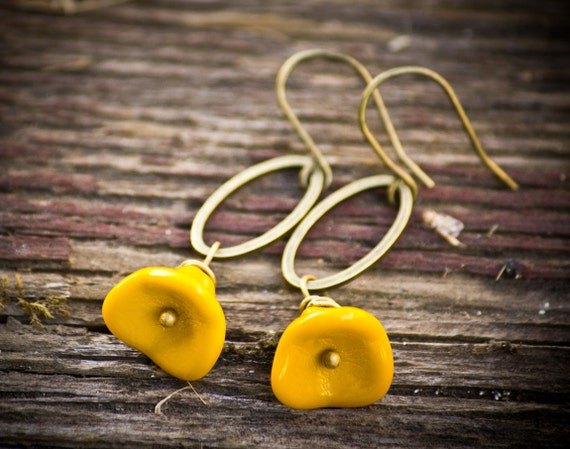 Yellow flower earrings - Mustard Dangles - Perfect for Spring