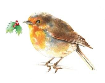 Christmas Postcard Bird