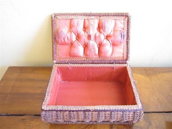 Vintage Wicker Wood Sewing Basket  Crafts Storage Box