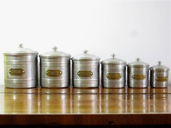 Vintage Canister Set French Canister Complete set Silver