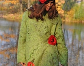 Poncho coat Poppy Field with textile brooch Poppy