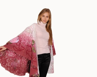 Shawl, cape Pink Garden embroidered with fabric flowers and decorated with glass beads