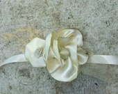 Fabric Flower Corsage, Ruffle Rose, Cherry Blossom, Fabric Flower, Satin, Lace, Vintage, Rustic, Shabby Chic Ivory