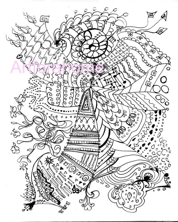 Items Similar To Zentangle Coloring Page Printable