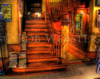 Trans-Allegheny Bookstore 8, Main Staircase, HDR  8x10 Fine Art Photo