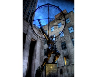 Atlas Statue, New York City,  11x17 HDR Fine Art Photo Print